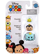 Disney Tsum Tsum 3 Pack Series 2 Flounder 234 Queen of Hearts 226 Dumbo 124 - $8.00