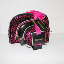 Juicy Couture Leopard Pink & Black Cosmetic Travel Case Set image 6