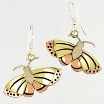 Monarch Butterfly Drop/Dangle Earrings Alpaca,Brass & Copper Butterfly T... - $18.95