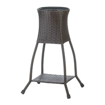 TUSCANY WICKER Dark Brown Plant Stand with Shelf and Removable Liner - $66.60