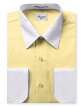 Berlioni Italy Men's Premium Classic White Collar & Cuffs Two Tone Dress Shirt image 15