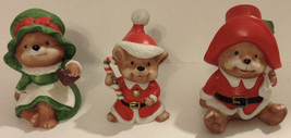 SET OF 3 HOMCO PORCELAIN CHRISTMAS BEAR FAMILY FIGURINES 5600 - TAIWAN - $11.87