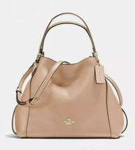 Coach Edie Pebbled Leather Hobo Handbag Shoulder Bag 28 Beechwood Tan L... - $178.18