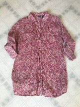 Eddie Bauer Pink Floral blouse size Medium Button & Pleated Front Roll tab Slv - $21.35