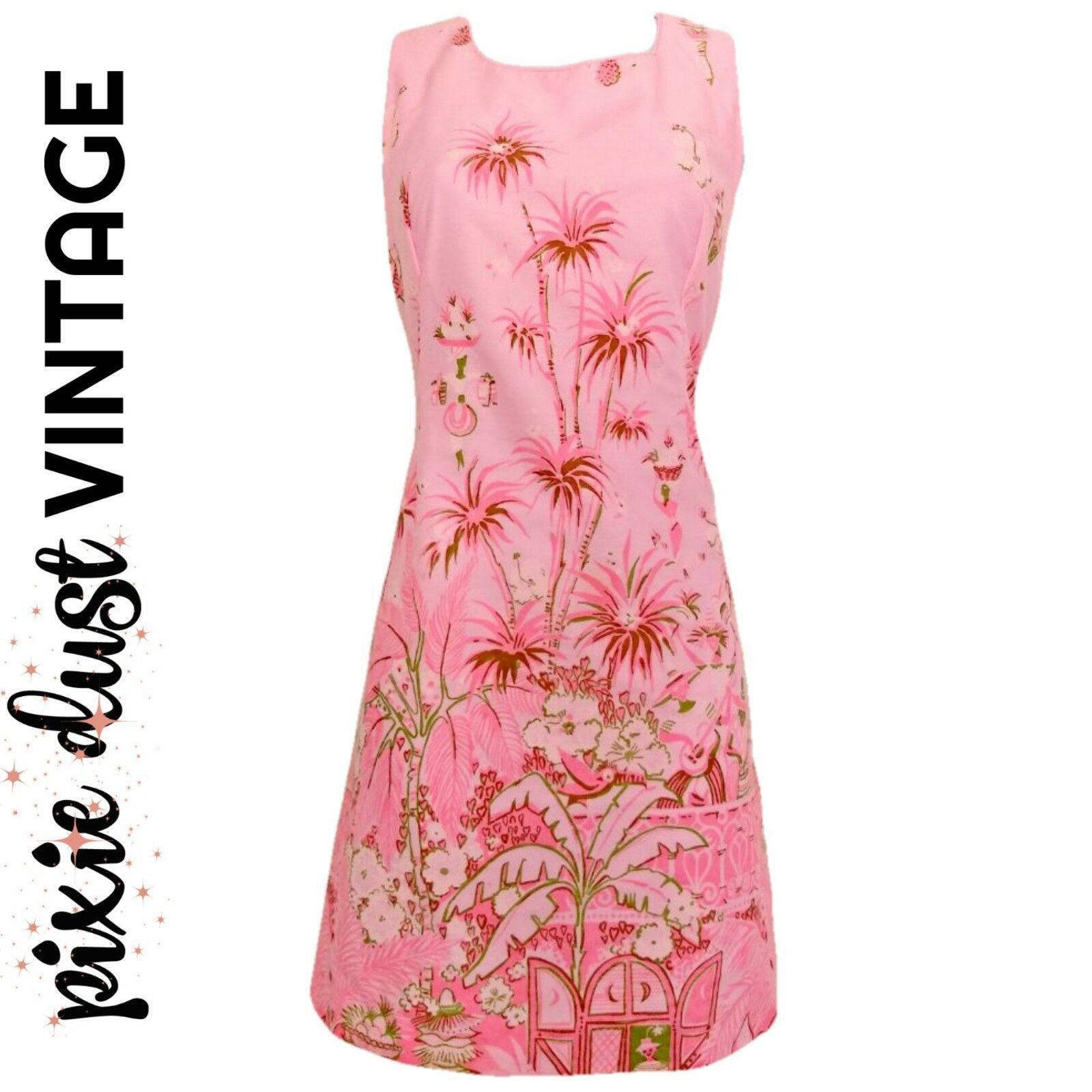 Pink Tropical Dress Vintage 60s Miami Mini Minidress Pineapples Palm Size Small
