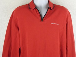 Vintage Polo Sport Ralph Lauren Polo Shirt Zipper Size L Long Sleeve Red... - $26.50