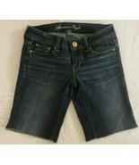 American Eagle Women's Factory Cut Off Bermuda Denim Blue Jean Shorts Si... - $9.71