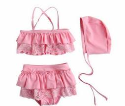 PANDA SUPERSTORE Cute Babe Girl Lace Swimsuit, Two Piece, Pink, 2-3 Years Old, 4