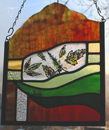 Stained Glass Window Panel falling leaves green gold red - $85.00