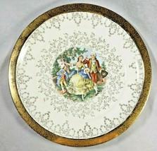 """Vintage Sabin FLOWER-O-GOLD 22K Gold Courting Scene 10 1/4"""" Dinner Plate - $12.99"""