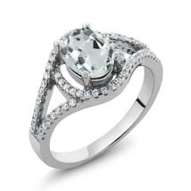 1.81 Ct Oval Natural Sky Blue Aquamarine 925 Sterling Silver Promise Rin... - $187.18