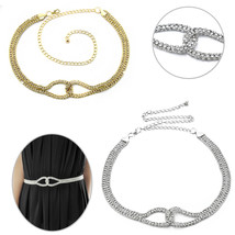 Silver Gold Diamond Ladies Waist Chain Belt Crystal Rhinestone Fashion W... - $10.34