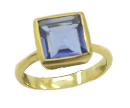 captivating Blue Shappire CZ Gold Plated Blue Ring genuine general US gift - $17.99