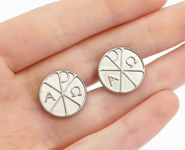 925 Sterling Silver - Vintage Etched Alpha & Omega Detail Cuff Links - T... - $32.78