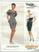 Vogue 2250 Givenchy Pattern 1980s Capelet Collar Cocktail Dress Size 6 8... - $13.86