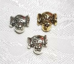 DOG FACE HEAD FINE PEWTER BEAD  - 10mm L x 10mm W x 7mm D; Hole -1mm