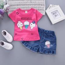 summer baby girls cartoon short sleeve t shirt + denim short clothes - $14.90+