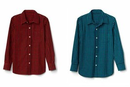 Gap Kids Boys Shirt 6 7 8 10 Gingham Plaid Red Green Teal Long Sleeve Cotton New - $19.99