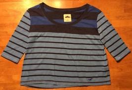 Hollister Women's Blue Striped 3/4 Sleeve Crop Top Shirt / Blouse - Size... - $14.84