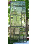 TWO Stained Glass Windows beveled leaded abstract - $440.00
