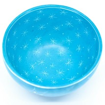 Tabaka Chigware Handmade Soapstone Blue Flower & Star Design Trinket Bowl Kenya image 2