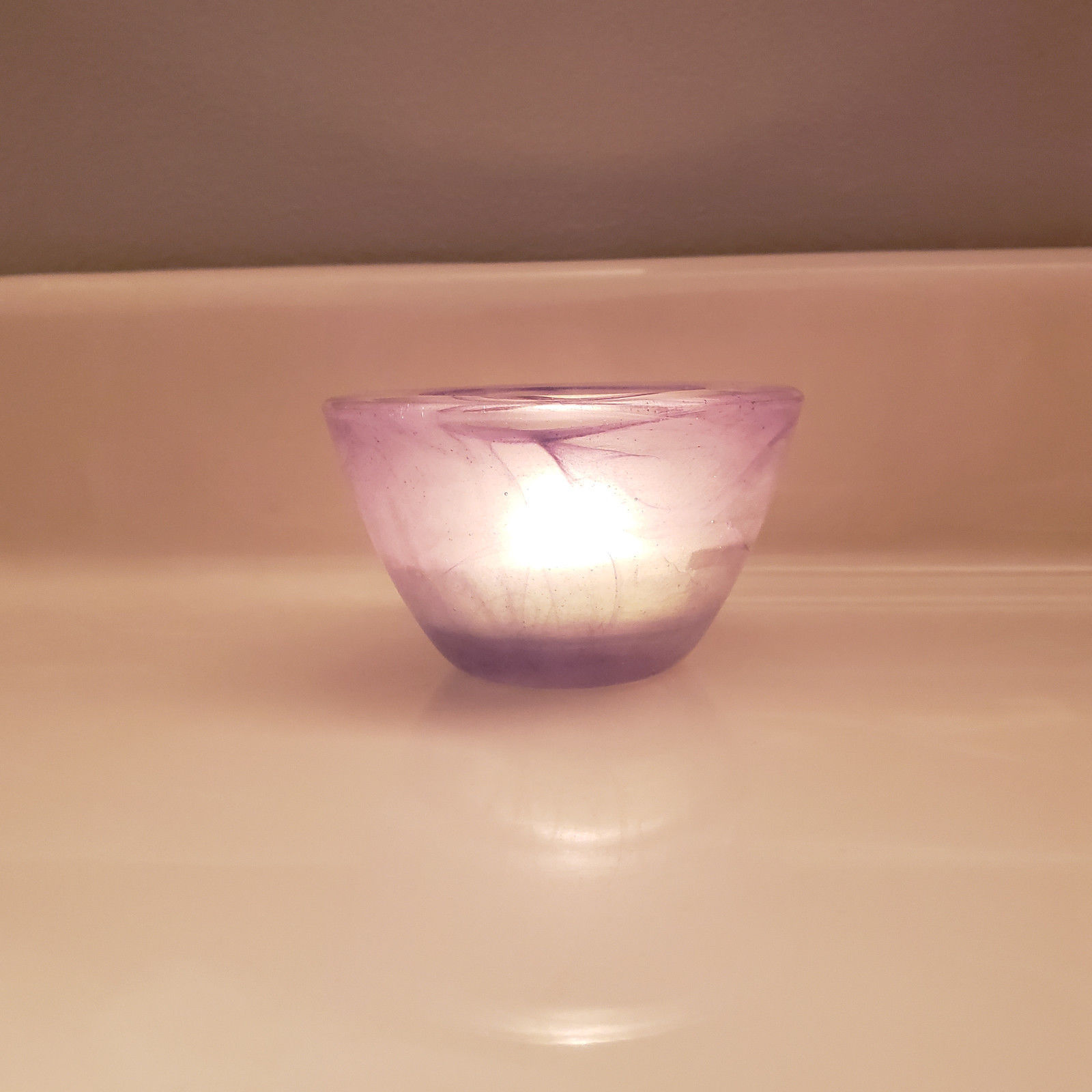 Purple Glass Votive Candle Holder Frosted Lavender Swirl Partylite Indulgences