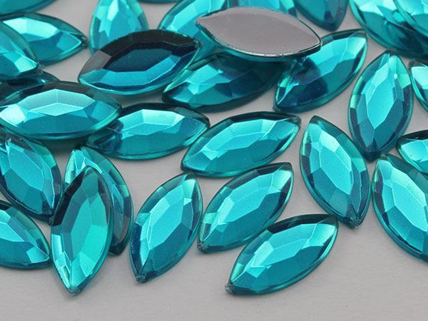 15x7mm Blue Zircon .BZ Flat Back Navette Acrylic Gems High Quality - 40 PCS