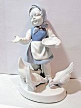 GIRL FEEDING DUCKS SIGNED BAVARIA GERMANY BLUE WHITE CERAMIC STATUE PORZ... - $24.00