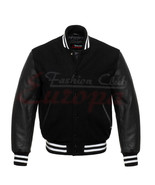 Unisex Letterman Wool College Varsity Jacket with Real Leather Sleeves X... - $66.32+