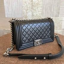 AUTHENTIC CHANEL BLACK QUILTED LAMBSKIN MEDIUM BOY FLAP BAG RHW image 4