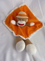 Baby Starters Orange Sock Monkey Tan Safari Hat Rattle Security Blanket Lovey - $18.57