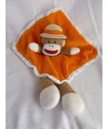 Baby Starters Orange Sock Monkey Tan Safari Hat Rattle Security Blanket Lovey - $18.57
