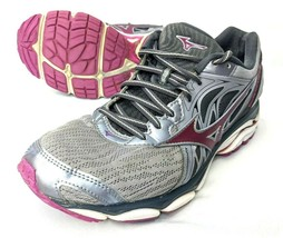 Mizuno Wave Inspire 14 Womens 10.5 Running Athletic Shoes Gray Purple Black - $38.51
