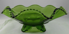 Antique GREEN PATTERN Glass Souvenir Candy Dish G27 - $9.89