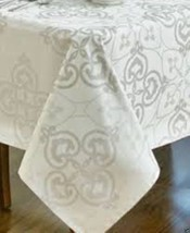 """Waterford Rosemarie Table Linen 70""""x 84"""" Oblong Color Platinum - $98.99"""