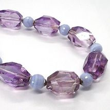 SILVER 925 NECKLACE, FLUORITE OVAL FACETED PURPLE, SPHERES CHALCEDONY image 3