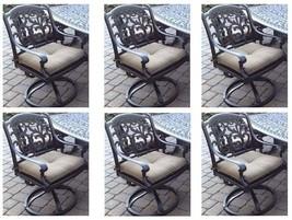 Patio set of 6 swivel rocker dining chairs outdoor living cast aluminum ... - $1,282.60