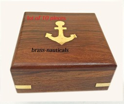 """lot of 10 wooden box for 4"""" sundial heavy quality wooden box with brass ... - $130.68"""
