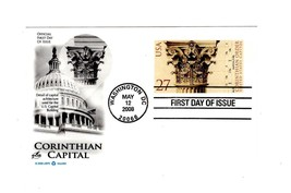 POSTCARD-FDC CORINTHIAN CAPITAL- 2008 ART CRAFT CACHET  BK12 - $2.43