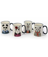 Hipster Animal 15 oz Mug Set of 4 by Signature Housewares - $48.46