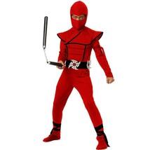 Kid Red Stealth Ninja Costume Cosplay Dress Up Foam Stars Large - $16.82