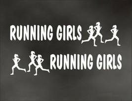 RUNNING GIRL GIRLS PAIR decal for marathon jogging runner Olympic mile r... - $8.83