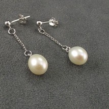 Sterling Silver White Freshwater Dangle Pearl Earrings Wedding Mothers Gift - $11.69