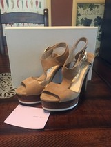 FABULOUS JIMMY CHOO Nixon Sue Almond Suede Platform Sandals, $775! Size ... - $144.53