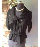 Cache Roll up Short Sleeve Black Blazer Suit Jacket Size 12 - $27.02