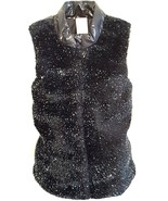 FADED GLORY Girl's Zip-Up Black Faux Fur and Silver Metallic Puffer Vest... - $10.42
