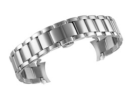 14mm High-Grade Silver Wrist Watch Strap Curved End Solid 316L Stainless Steel w - $98.24