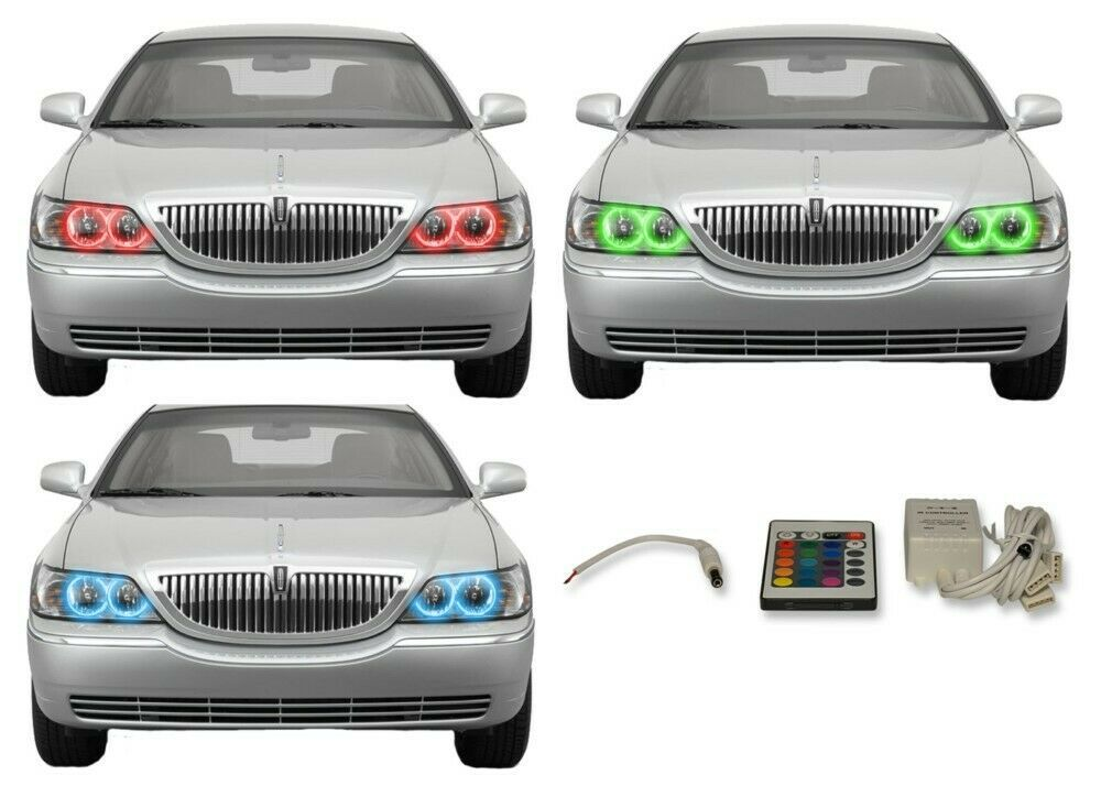 Primary image for for Lincoln Town Car 05-11 RGB Multi Color IR LED Halo kit for Headlights