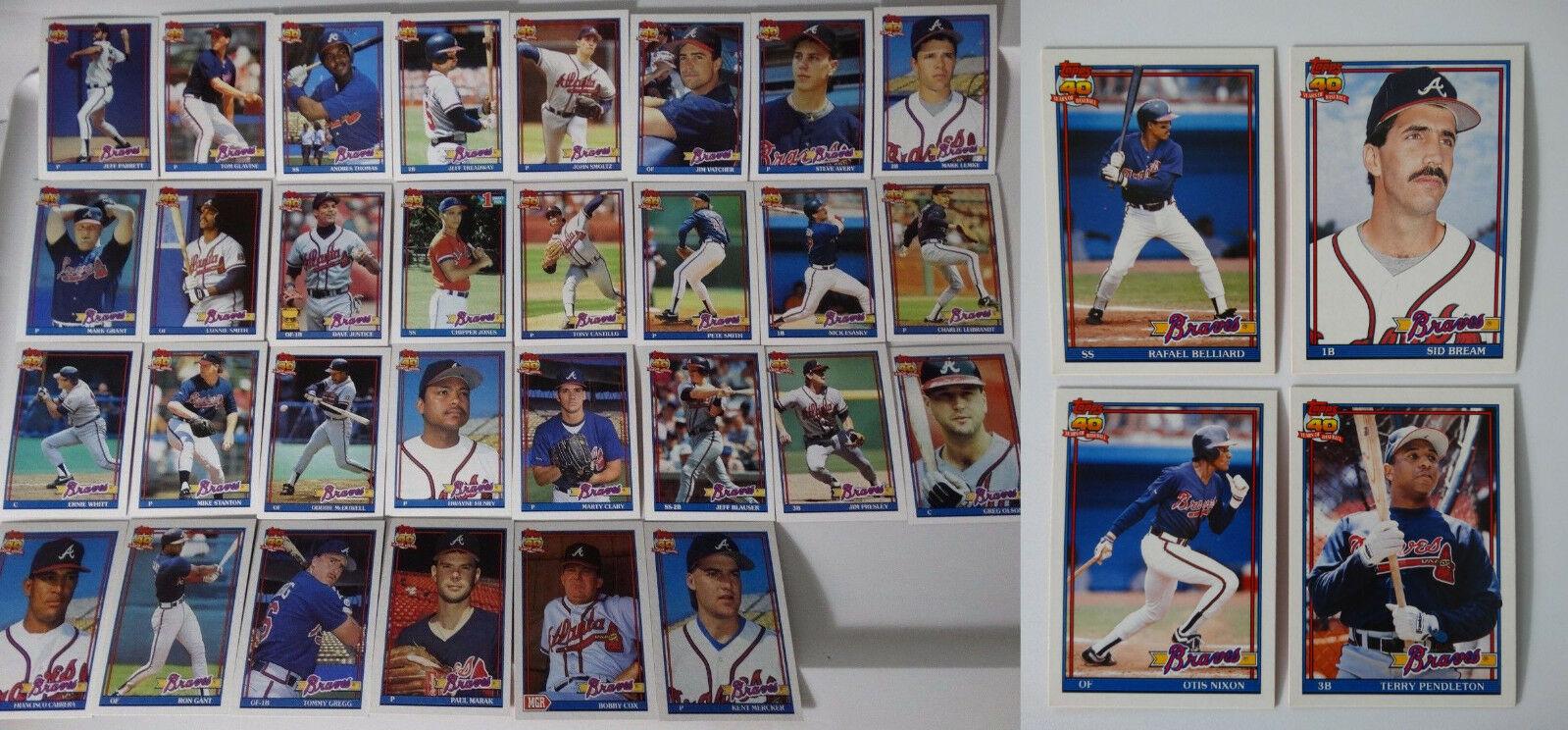 1991 Topps Atlanta Braves Team Set of 34 Baseball Cards With Traded