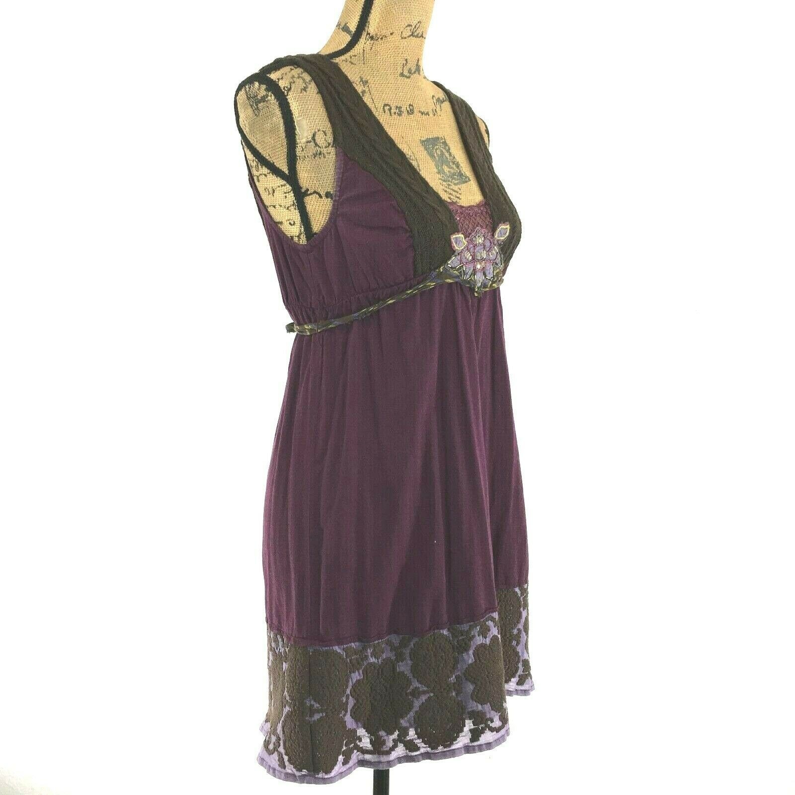 Free People 4 Sm Dress Long Top Purple Brown Embroider Sweater Trim Bead Boho